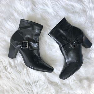 ETIENNE AIGNER Black Patent Leather Ankle Boots 10